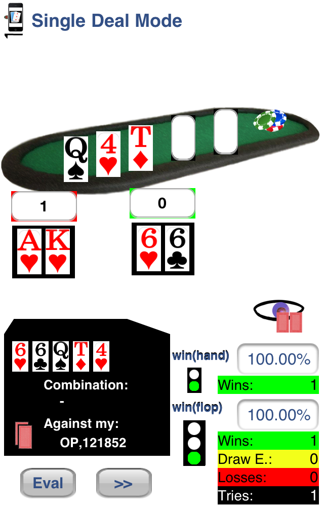 Visualization of first Flop: Qs, 4h, Td