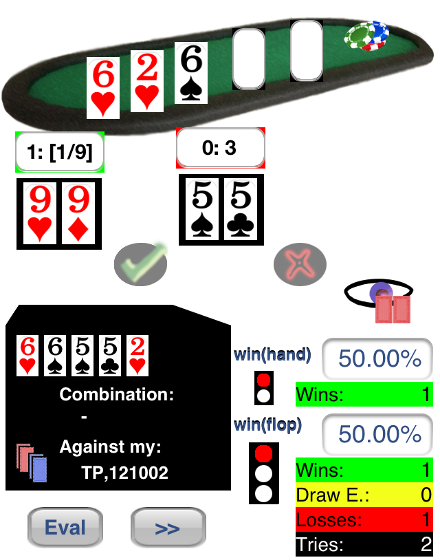 Visualization of second Hand 55 vs. 99 with Flop: 6h, 2h, 6s