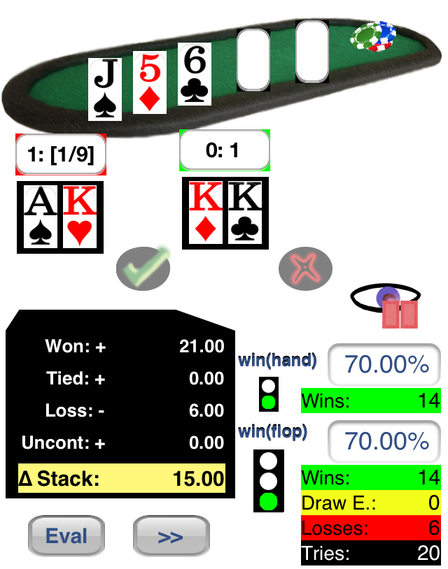 Visualization of 20th Hand KK vs. AK with Flop: Js, 5d, 6c